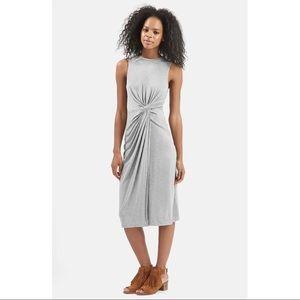 TOPSHOP Grey Sleeveless Knot Front Midi Dress